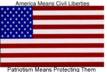 [America Means Civil Liberties / Patriotism Means Protecting Them / www.aclu.org/safeandfree ]